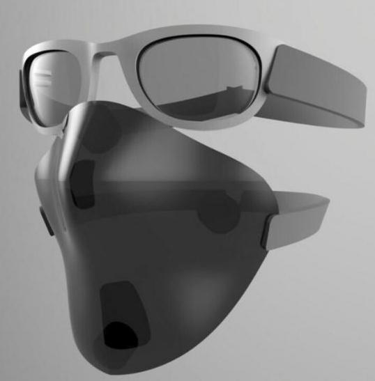máscara con barbijo y las gafas